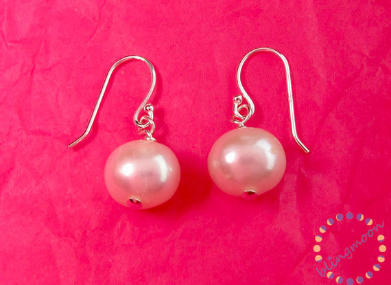 Pearl earrings: 9.5 to 10mm freshwater pearl earrings sterling silver or gold fill